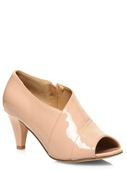 Evans Extra Wide Nude Patent Low Cut Heel Pink