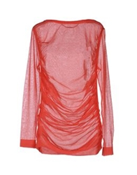 Barbara Bui Long Sleeve Sweaters Coral