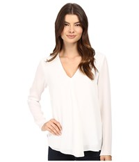 Heather Silk Double Layer Long Sleeve Top White Women's Clothing