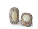 Fabio Salini Earrings With Opals Gold And Pave Set Fancy Sapphires Multi