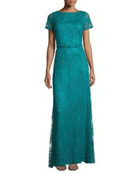 Catherine Deane Short Sleeve Belted Lace Gown Jade Green