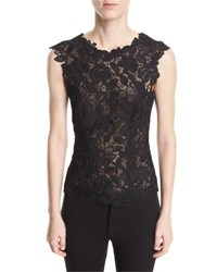 Monique Lhuillier Sleeveless V Back Floral Guipure Lace Fitted Blouse Black
