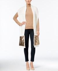 Inc International Concepts Knit Sequined Pocket Scarf Only At Macy's Ivory