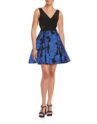 Xscape Evenings Floral Fit And Flare Dress Black Blue
