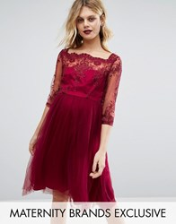 Chi Chi Maternity London Premium Lace Embroidered Prom Dress With Tulle Skirt Red
