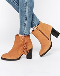 Asos Ella Wide Fit Suede High Ankle Boots Chestnut