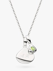 Kit Heath Personalised Sterling Silver Pebble And Tag Birthstone Pendant Necklace Peridot August