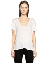 Anine Bing Deep V Neck Silk Jersey T Shirt