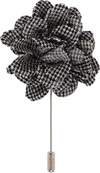 Lanvin Houndstooth Rose Tie Pin Black