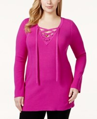 Inc International Concepts Plus Size Long Sleeve Lace Up Tunic Only At Macy's