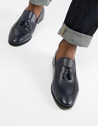 Zign Tassel Loafers In Navy Leather