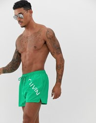Calvin Klein Short Drawstring Swim Shorts Green
