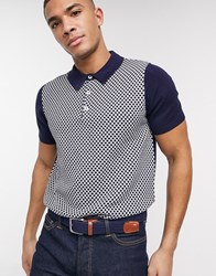 Ben Sherman Knitted Geometric Polo Shirt Navy