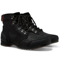 Sorel Ankeny Waterproof Rubber And Suede Trimmed Leather Boots Black