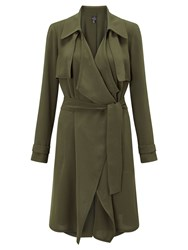 Adrianna Papell Waterfall Trench Coat Green