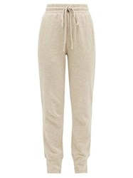 The Upside Long Island Logo Print Cotton Track Pants Beige