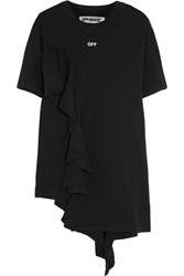 Off White Ruffled Cotton Jersey T Shirt Black