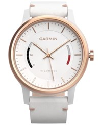 Garmin Unisex Vivomove Classic White Leather Strap Activity Tracking Smart Watch 42Mm 010 01597 13