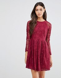 Traffic People Supreme Dress In Lace Berry Red