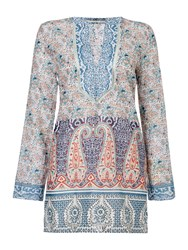 Oui Longsleeve Paisley Printed Tunic Navy And Red Navy And Red