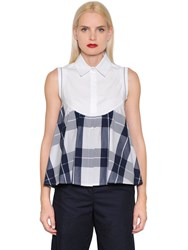 I'm Isola Marras Plaid Cotton Poplin Sleeveless Shirt