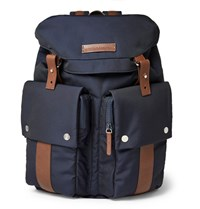 Brunello Cucinelli Leather Trimmed Shell Backpack Navy