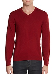Saks Fifth Avenue Cashmere V Neck Sweater Russet Red