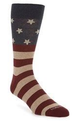 Lorenzo Uomo Flag Crew Socks Navy