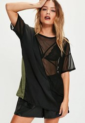 Missguided Black Mesh Panel Mix T Shirt
