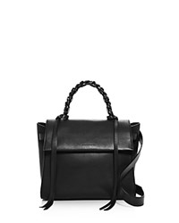 Elena Ghisellini Angel Sensua Small Leather Satchel Black Gunmetal