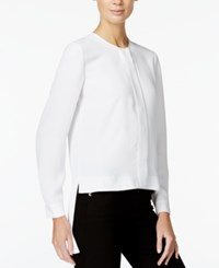 Armani Exchange High Low Button Down Top Solid White