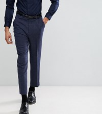 Asos Tall Tapered Smart Trousers In Navy Wool Mix Texture Navy