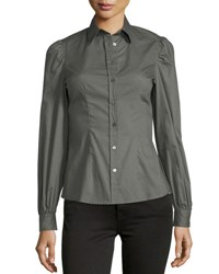 Romeo And Juliet Couture Woven Button Front Long Sleeve Top Olive
