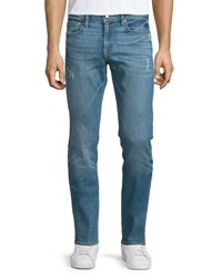 Frame L'homme Russell Distressed Washed Denim Jeans Cave Russell Cave