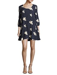 Beige By Eci Floral Three Quarter Sleeve Dress Navy Ivory