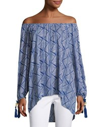 Neiman Marcus Off The Shoulder Graphic Print Top Blue White