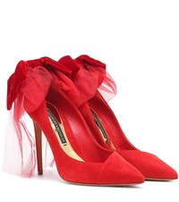 Alexandre Vauthier Vivian Bow Suede Pumps Red