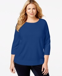 Karen Scott Plus Size Solid Crew Neck Sweater Only At Macy's Deep Pacific