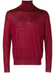 Canali Roll Neck Fitted Sweater Red