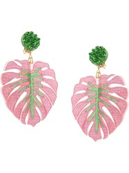 Mercedes Salazar Tropics Palm Oversized Earrings Pink