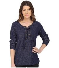 Sanctuary Lace Up Day Beacon Top Marine Women's Long Sleeve Pullover Blue