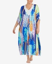 Ellen Tracy Plus Size Printed Crochet Neck Caftan Teal Print