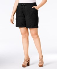 Styleandco. Style And Co. Plus Size Poplin Shorts Only At Macy's Deep Black