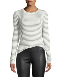 Vince Double Pinstripe Long Sleeve Crewneck Tee Off White Black