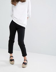 Monki Cropped Straight Jeans Black