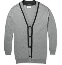 Public School Contrast Trimmed Cotton Silk And Cashmere Blend Cardigan Gray