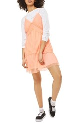 Topshop Women's Layered Tulle Slipdress Coral