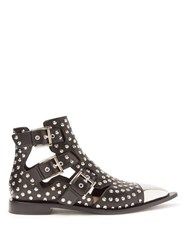 Alexander Mcqueen Studded Leather Boots Black Silver