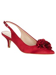 Phase Eight Alana Frill Satin Kitten Heel Shoes Red