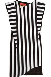 Ronald Van Der Kemp Striped Satin Mini Dress Black